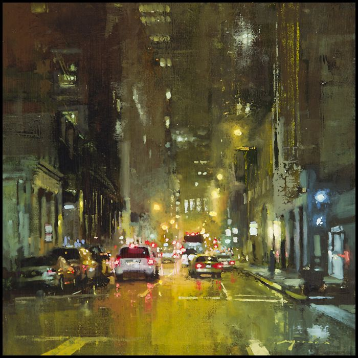 Jeremy Mann uses rain to his advantage. It's a great way to increase the mood of a painting, as rain reflects the light and colors in the direct surroundings.
