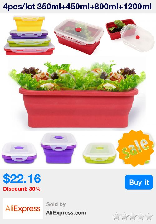 4pcs/lot 350ml+450ml+800ml+1200ml Collapsible silicone LunchBox Bowl Folding Food Storage Container Bento Lunchbox random color * Pub Date: 21:48 Sep 12 2017