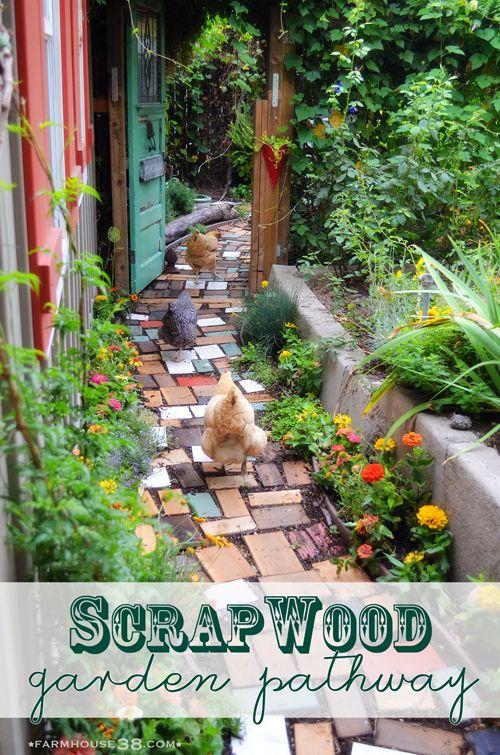 Scrap wood garden pathway from Farmhouse38