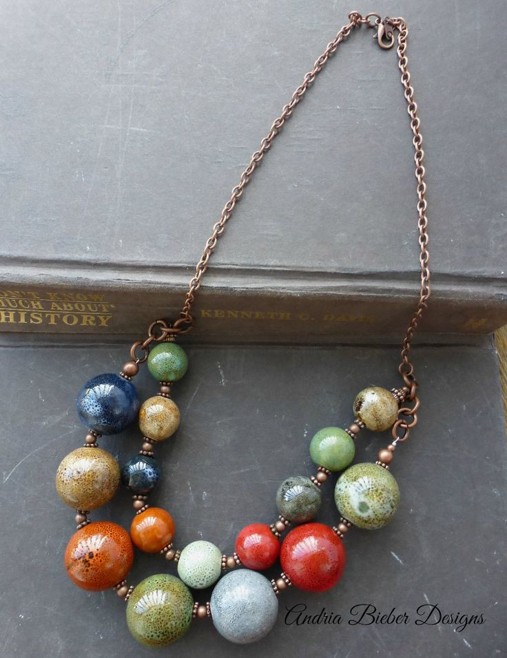 Fun layers. Ceramic round beads, copper beads, copper chain metal necklace.