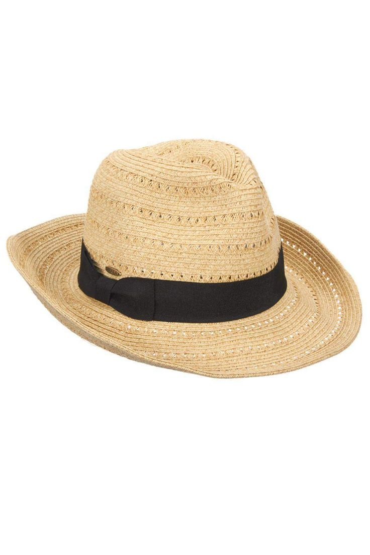 """Scala Safari hat in colors beige and toast. Made of paper braid and the black ribbon is grosgrain.    Dimensions:One-size fit with a 3 1/4"""" brim.   Safari Hat by Scala. Accessories - Hats Kansas"""