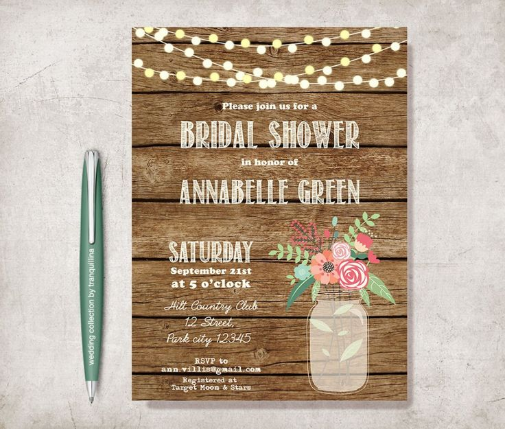 Rustic #Bridal Shower Wedding / #Birthday Invitation #Printable. #Mason Jar Invite by #Tranquillina #Croatia from £9.00