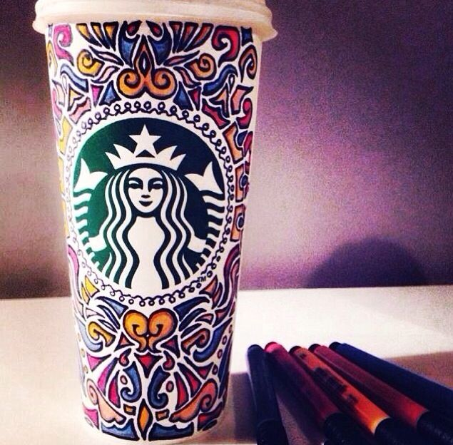 Decorated Starbucks cup... I want to do this!