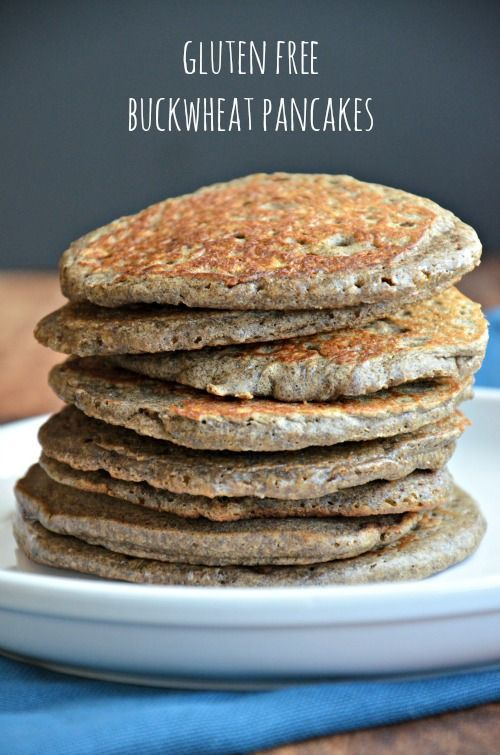 Gluten Free Buck Wheat Pancakes, 1 c. whole grain buckwheat flour, 1 tsp. baking powder, 1/4 tsp. baking soda, 1/2 tsp. cinnamon, 1 c. almond milk, 1/4 c. Egg Beaters, 1 Tbsp. pure maple syrup, 1/2 tsp. vanilla