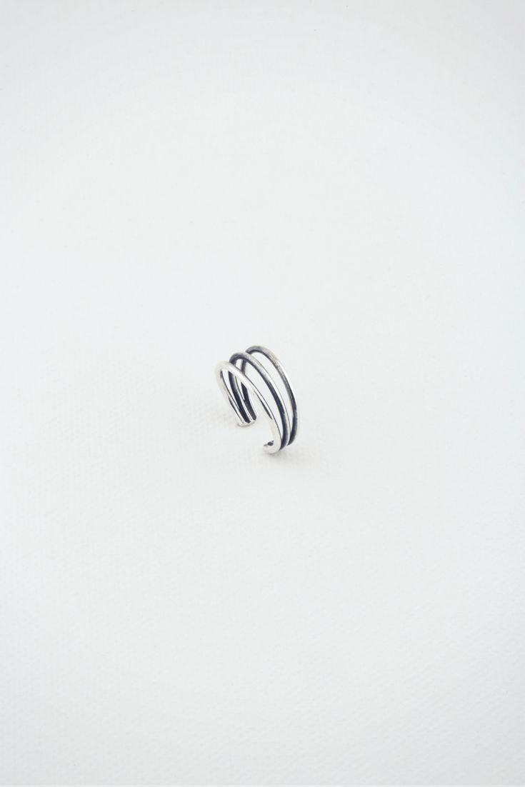 Art & Soul Collection (Dali Ring RR219) - Petite three-strand burnished silver ring. Adjustable size.  R199 l £18 l €20 l $29