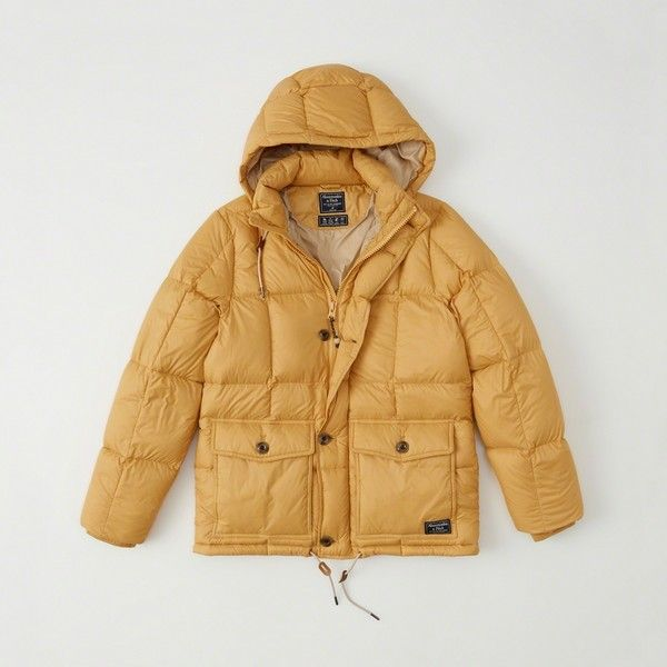 Abercrombie & Fitch Down-Filled Puffer Coat (5.845 RUB) ❤ liked on Polyvore featuring men's fashion, men's clothing, men's outerwear, men's coats, yellow, mens hooded leather coat, mens leather coats, mens down filled coats and mens hooded coat