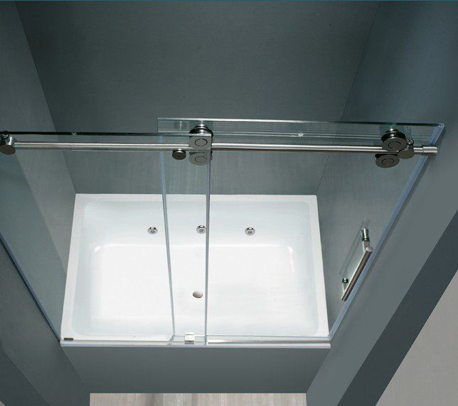 Modern frameless sliding shower door system   Brushed Stainless Steel Frameless Sliding Shower Door Hardware,space saving,elegant looking and easy ins