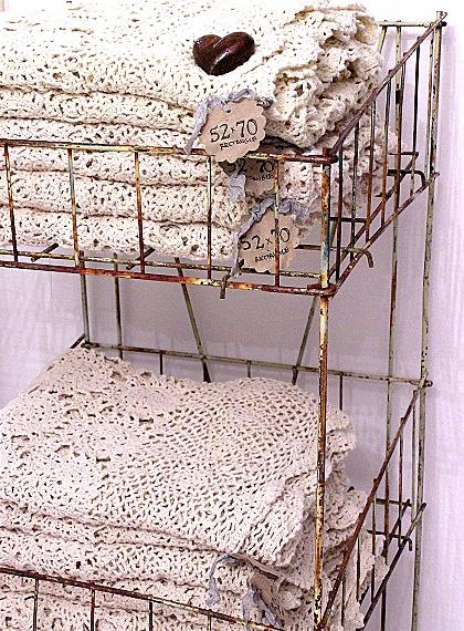 Vintage Lace in Vintage Wire Baskets