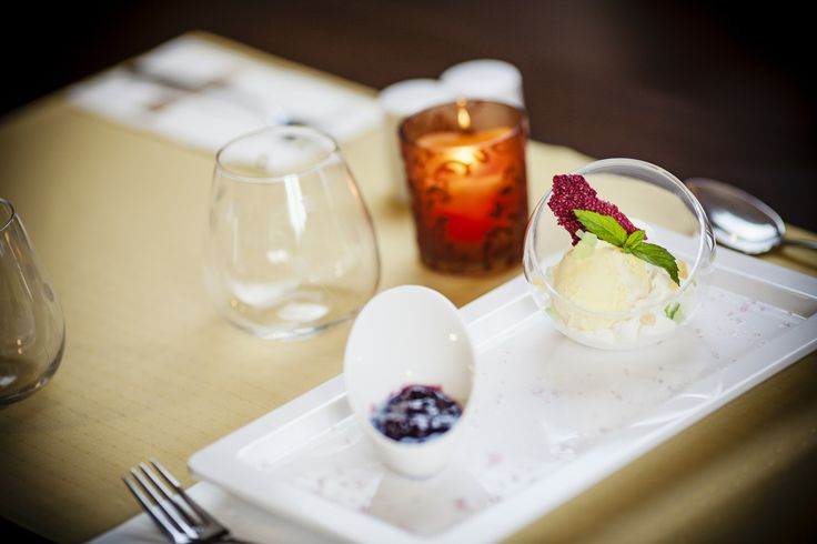 Vanilla ice cream with blueberry marmalade sauce @Hotel_Lajta_Park Adress: 9200 Mosonmagyaróvár Vízpart utca 6 www.hotellajtapark.hu info@hotellajtapark.hu