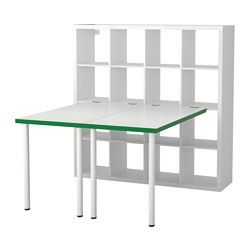 IKEA - KALLAX, Workstation, white/green, , You can use the furniture as a room divider because it looks good from every angle.Pre-drilled holes for legs, for easy assembly.The table can be moved across the floor without worry because the plastic feet protect against scratching.You can use the connection fixture to attach any non-glass table top in our range to a KALLAX shelf unit.The connection hardware will not scratch the table top because it's lined with protective felt.