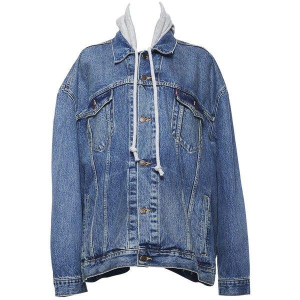Vetements Hooded Denim Trucker Jacket (87,845 PHP) ❤ liked on Polyvore featuring outerwear, jackets, clothing /, kirna zabete, long sleeve jacket, hooded jean jackets, hooded denim jacket, blue jackets and long sleeve denim jacket