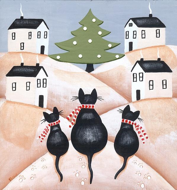 """Christmas Tree Viewing"". #art #cute #cats"