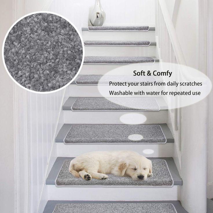 Best Amazon Com Pure Era Carpet Stair Treads Set Of 7 Non Slip Self Adhesive Bullnose Indoor Stair 640 x 480