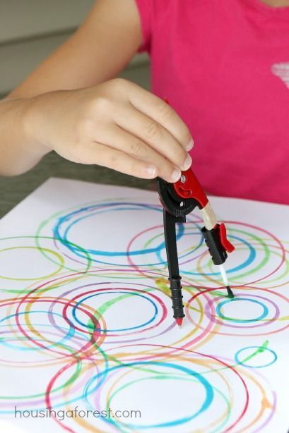 Compass Painting. Good art project for STEAM learning. Use crayons, markers, or colored pencils and let kids experiment with diameter and shapes. SRP 2014