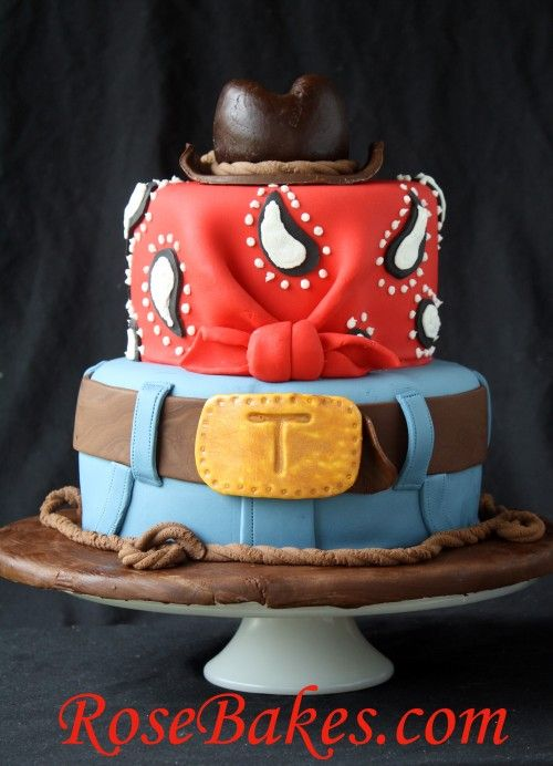 Cowboy Cake with Hat Jeans Bandana