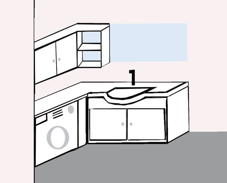 Γωνιακό έπιπλο μπάνιου με μεγάλο καθρέφτη 🚾