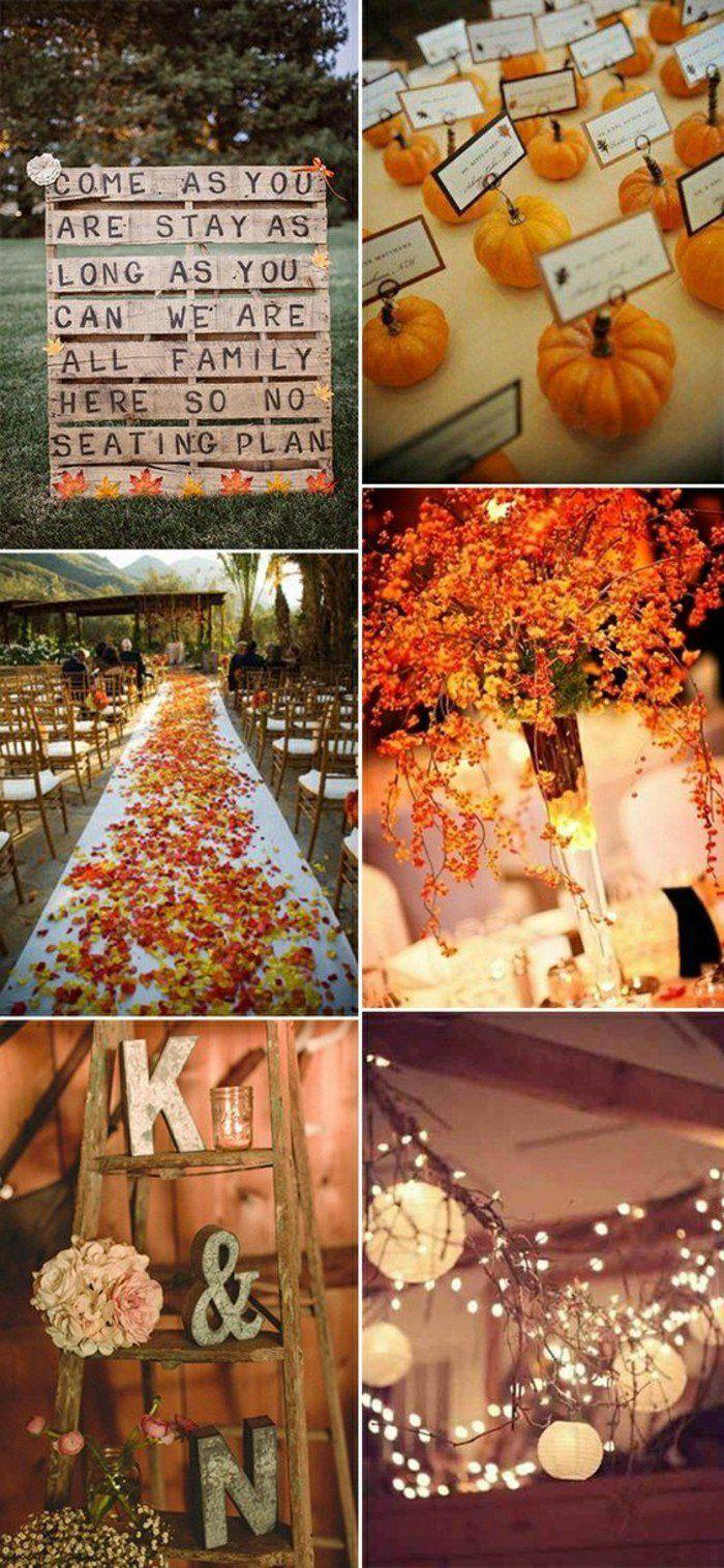 comment décorer pour un mariage en automne, die deco avec feuilles oranges deco mariage automne
