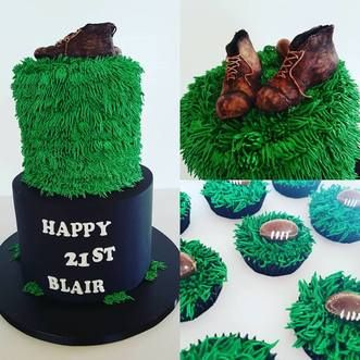 """A 8"""" chocolate cake filled with ganache and a 6"""" carrot cake filled with cream cheese icing. Italian meringue buttercream for the grass and cupcakes. They wanted some old boots (fondant) and old rugby balls  #rugby   #cakesnorthland   #cakeswhangarei   #chocolate         #caketinlove"""