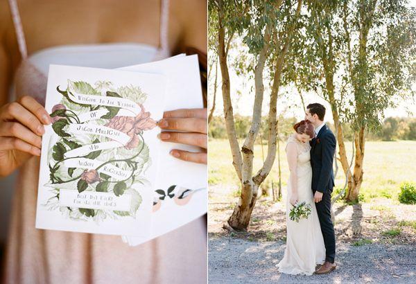 Botany inspired invitations. Art Deco-Meets-Handmade-Fete Wedding