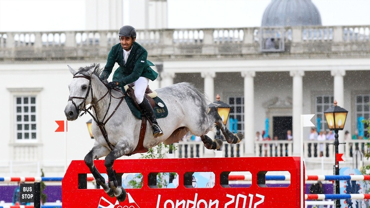 HRH Prince Abdullah Al Saud of Saudi Arabia riding Davos competes in the second qualifier of Individual Jumping on Day 9 of the London 2012 Olympic Games at Greenwich Park.