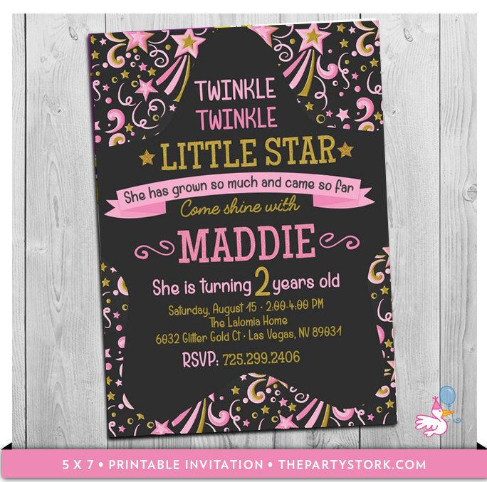 Twinkle Little Star First Birthday Invitation 2nd Or 1st Girl Printable