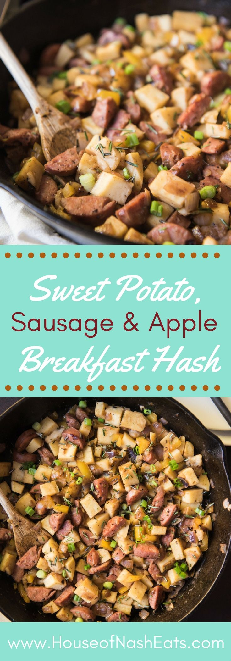 Sweet Potato Hash with Sausage & Apples is a good-for-you delicious, easy breakfast recipe to help you eat healthy in the new year!  I eat it because it's yummy, filling and a great start to my day, but it has the added benefit of being paleo, gluten-free, and Whole30 compliant! #whole30 #sweetpotatoes #breakfast #hash #paleo #glutenfree