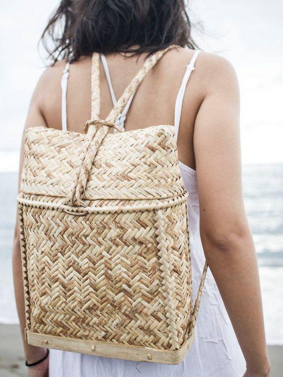 Rattan Backpack by SeaAndWeave on Etsy