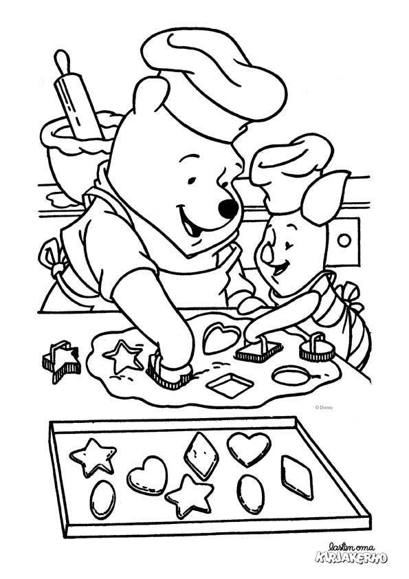 Nalle Puh ja Nasu leipomassa -värityskuva. Lasten Oman Kirjakerhon tulostettavat värityskuvat. Free printable pattern. lasten   askartelu   käsityöt   värittäminen   DIY ideas   kid crafts   colouring