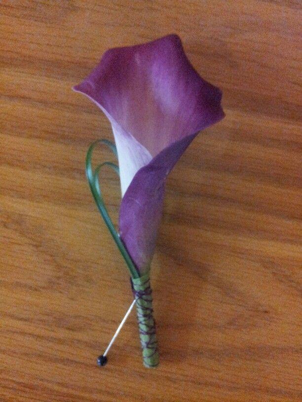 Purple Calla Groom boutonniere with grass