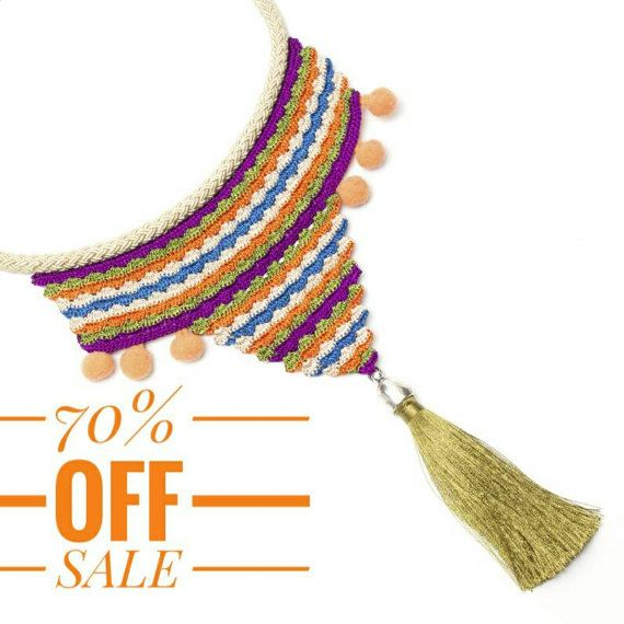 70% OFF Necklace-Bohemian Handmade Chevron Crochet by PinaraDesign