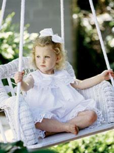 Childs Wicker Swing - White