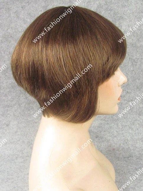 Human Hair Short Straight Capless Wig for Women  #syntheticwig