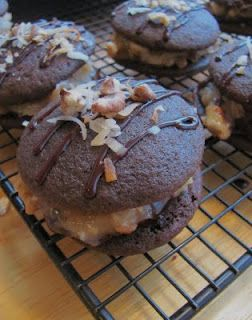 German Chocolate Whoopie Pies....I made these this past weekend for a family gathering, out of the Pampered Chef cookbook....divine!