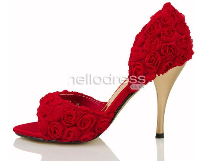 14 best bridal shoes images on pinterest bridal shoes, bridal Red Wedding Heels Uk red rose flowers pumps cusp sandals with satin and lace bridal shoes hellobridal co red wedding heels for bride