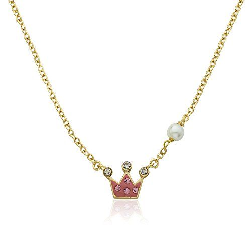 "Molly Glitz Girls' ""Pretty Princess"" 14k Gold-Plated Pink Crystal Crown and Freshwater Pearl Pendant Necklace, 14″ + 2″ Extender"