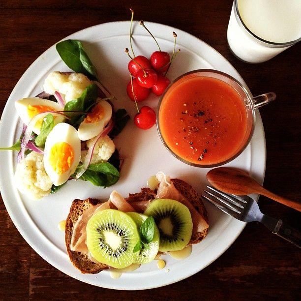 Today's breakfast. Tomato and Potato Soup じゃがいもとトマトの冷たいスープ - @keiyamazaki- #webstagram