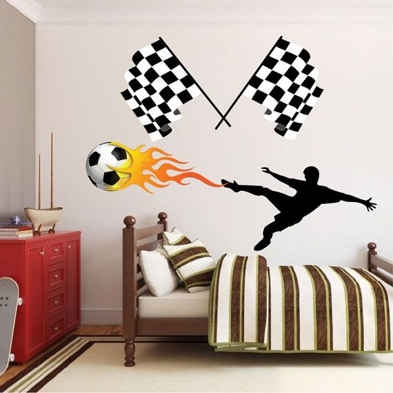 Checkered Flag Decal Checkered Flag Wall Design by PrimeDecal