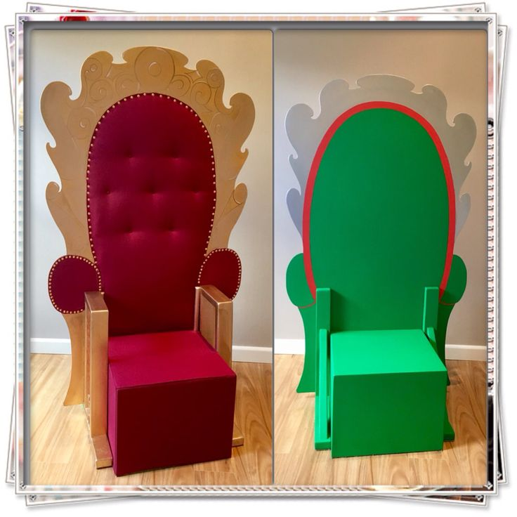 Elf Jr. The Musical. Double sided Santa chair for the 'real' Santa and 'fake' Santa. Timber construction with a fabric cover for the cube seat; and a fabric backrest upholstered with brass drawing pins. Takes apart for storage and transport