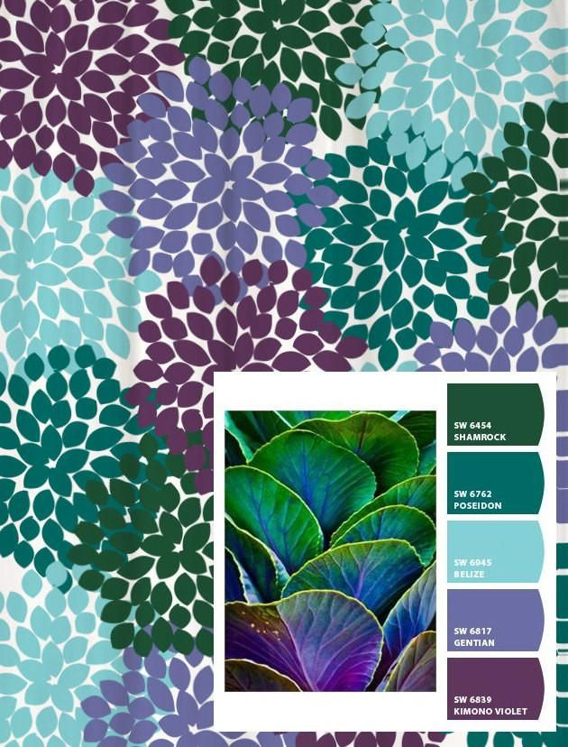Shower Curtain In Purple Blue Green Floral Inpired By Succulents Green Color Schemes Color Schemes Purple Succulents