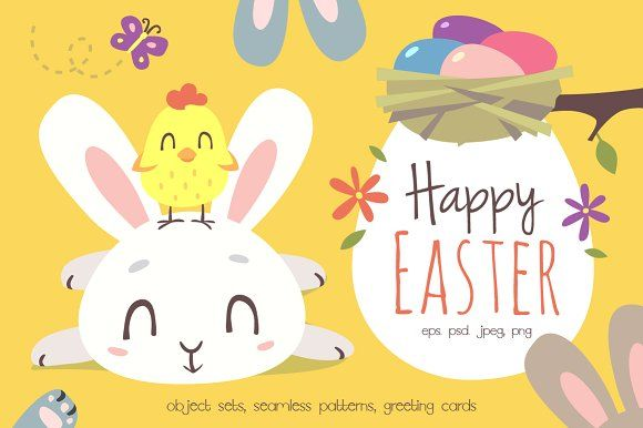 Happy Easter Cartoon Set by SunnyWS on @creativemarket