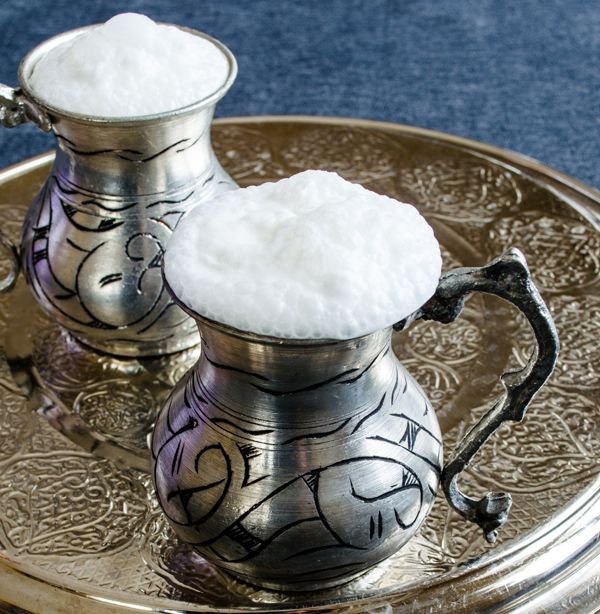 Ayran! Traditional turkish drink. Salty yogurt, frothed up to beautiful perfection.
