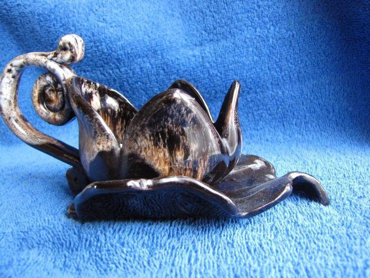 Vintage vtg Sweden Scandinavian pottery sweet ceramic Vase lily flower