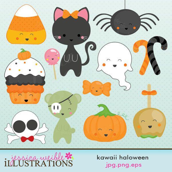 Kawaii Halloween Cute Digital Clipart - Commercial Use OK ...
