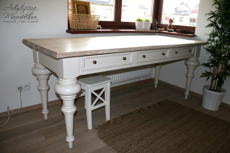 biurko do gabinetu, może być też stołem  - wykonanie Artystyczna Manufaktura