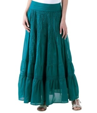 Long, embroidered flared skirt emerald - Promod