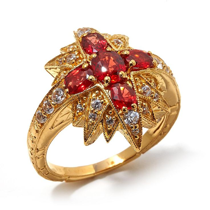 Generations 1912 Generations® 1912 - 1.49ctw Red Sapphire and White Zircon Vermeil Ring