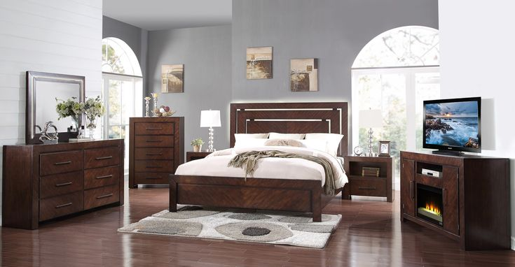"Buy Online ""City Lights- Walnut ZCTL 4 PC King Bedroom Set"" at reasonable price just $1799  #kingsizebedroomfurniture   #bedroomfurniturestorephoenix"