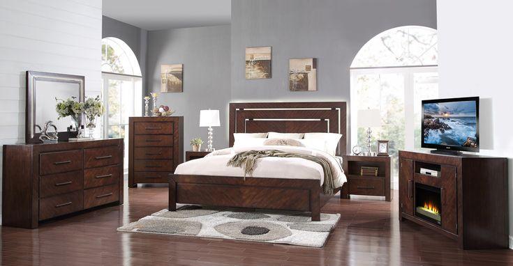 """Buy Online """"City Lights- Walnut ZCTL 4 PC King Bedroom Set"""" at reasonable price just $1799  #kingsizebedroomfurniture   #bedroomfurniturestorephoenix"""
