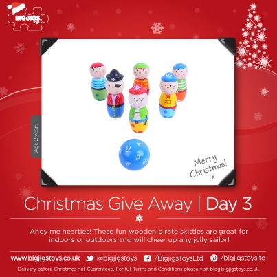 PIN TO WIN!!    Day 3 of the Bigjigs Toys Xmas Giveaway!     To be in with a chance of winning this fabulous Pirate Skittles Set simply follow our page and re-pin the image!     For full terms and conditions please visit our blog: blog.bigjigstoys.co.uk