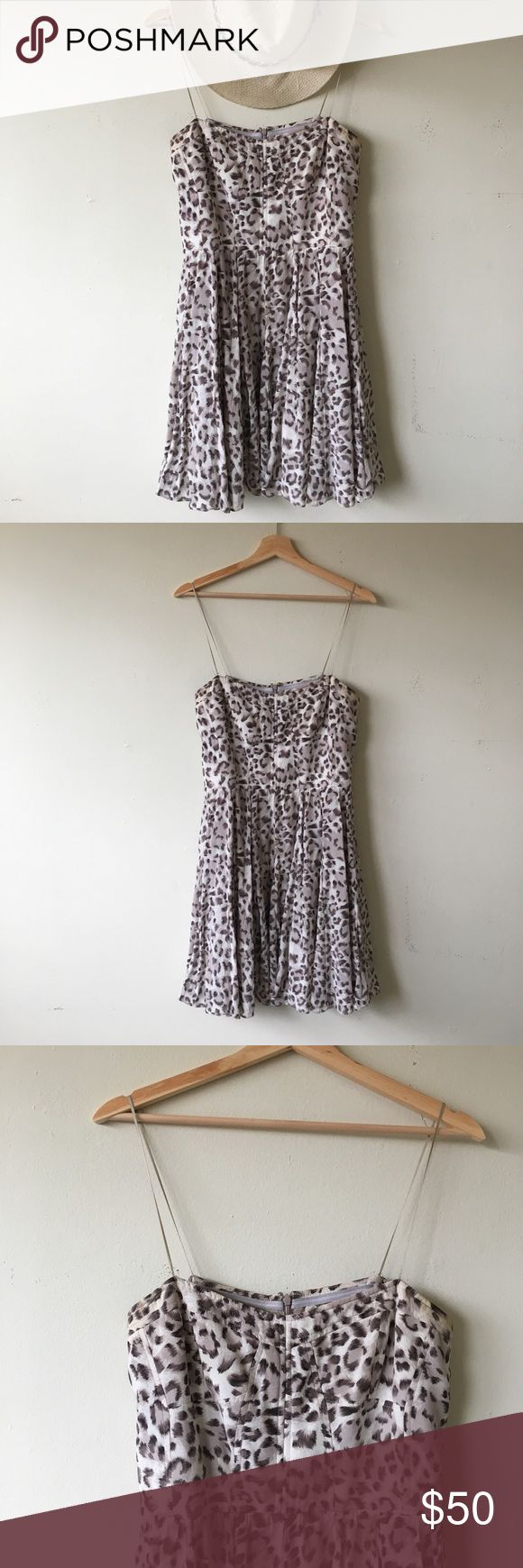 🌸 Greylin Silk Leopard Bustier Style Dress 🌸 beautiful and vey flattering fit / sleek thin straps and slight purple gray pattern / 100 % silk and polyester lining / size unmarked fits like M / looks great with cowboy boots Greylin Dresses Mini